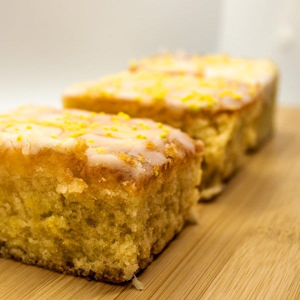 Close up of lemon drizzle cake slices