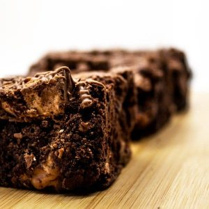 Close up image of Mars Bar brownie