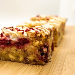 Close up white chocolate and raspberry blondie