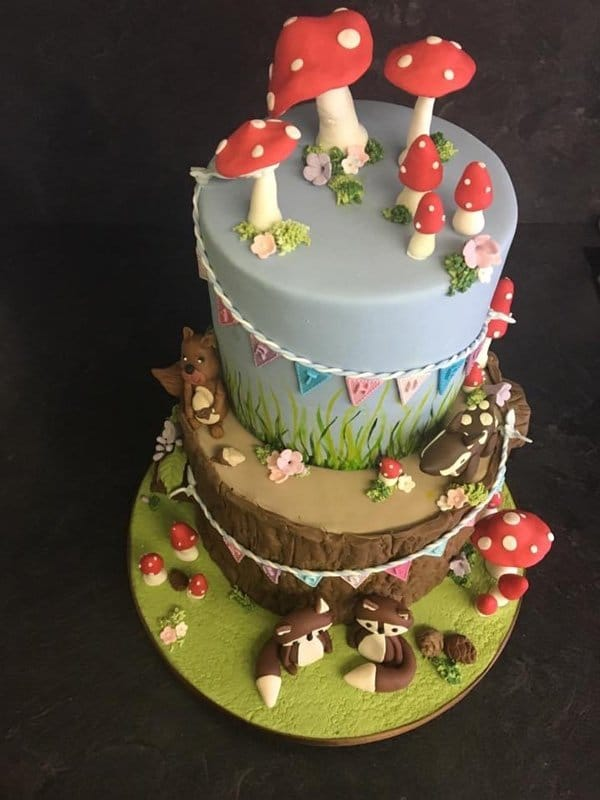 Woodland three tier novelty cake design